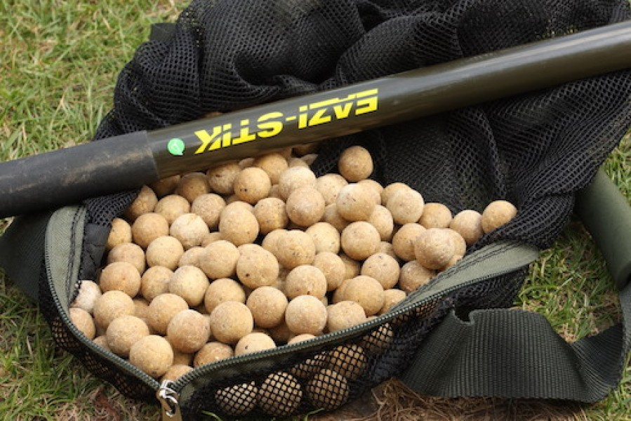 The throwing stick is also a good option to keep trickling the baits in.